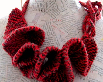Free shipping Textile jewelry--Unique Knitting necklace--Curly necklace-Jewelry --Fiber jewelry-RED-BROWN -Cotton--gift for her--40 USD