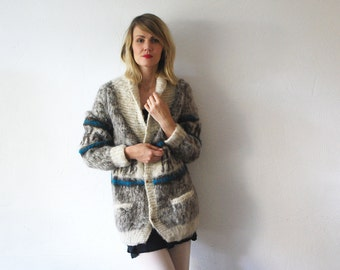 SALE...70s wool cardigan. knit coat. boho chunky knit cardigan - large