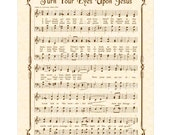 TURN Your EYES Upon JESUS - Hymn Art - Custom Christian Home Decor - VintageVerses Sheet Music - Inspirational Wall Art - Sepia Brown
