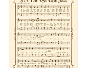 TURN Your EYES Upon JESUS - Hymn Wall Art - Christian Home & Office Decor- Vintage Verses Sheet Music Wall Art- 11x14 Inspirational Wall Art