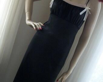 1930s 1940s Vintage Black Nightgown Slip Dress Maxi Size S/M Goth Stunning