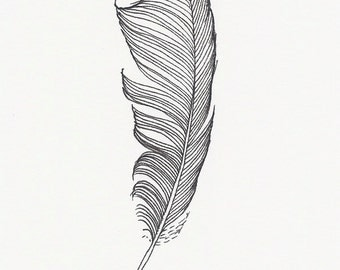 Original ink drawing ~ Black Feather
