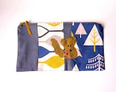 "Zipper Pouch, 9 x 5.5"" in gray, gold, pink, blue and white tree print fabric with Handmade Felt Squirrel Embellishment, Squirrel Pencil Case"