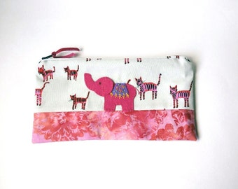 "Reserved for ctse2529 Zipper Pouch, 5.25x9.5"" in cream magenta,  tiger fabric with Handmade Felt Elephant , Elephant Pencil Case"