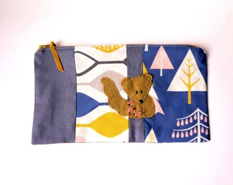 """Zipper Pouch, 9 x 5.5"""" in gray, gold, pink, blue and white tree print fabric with Handmade Felt Squirrel Embellishment, Squirrel Pencil Case"""