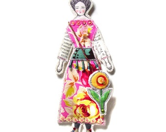 Modern Vintage Look Small Flat Doll Ornament Handmade Fabric Doll Decoration  Embellished Textile Art Doll Wearing A Large Flower