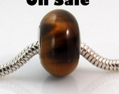 Sale item - Tiger eye large hole bead fits all popular style bracelets, made with sterling silver 2666
