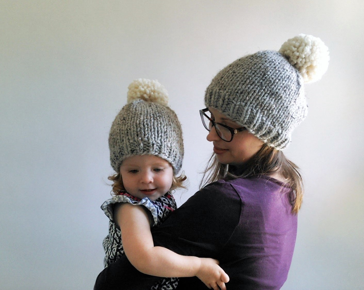 Knitting Pattern Chunky Baby Hat : Basic Pom & Double Pom Beanie Pattern