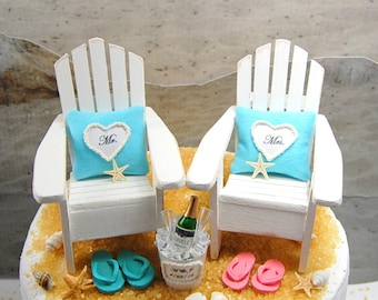 Sale! Champagne for 2 Beach Chairs Wedding Cake Topper Custom Colors Made To Order With Bride And Groom Flip Flops (without palm tree)