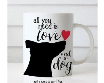 Dog Mug, Dog Gifts, Dog Art, Black Dog Art, Rescue Dog, Dog Lover Gift, Dog Gifts, Dog Rescue, Red Heart, All You Need is Love and a Dog
