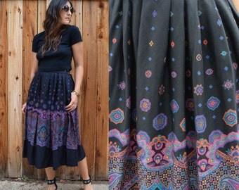 Vintage 80s HIGH WAIST PAISLEY Print Midi Skirt with Pockets S M