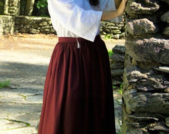 Long Peasant Skirt Renaissance Style Made in Cotton material - Custom Made by Order