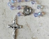 Rare Vintage Swarovski Color-changing Alexandrite Crystal Article 39 Sterling Rosary Decade Chaplet Vintage Sterling Saint Benedict Cruficix