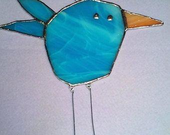 LARGE Bird #3 Stained Glass Suncatcher with blue feathers and dangling legs, Kid's Drawing Series
