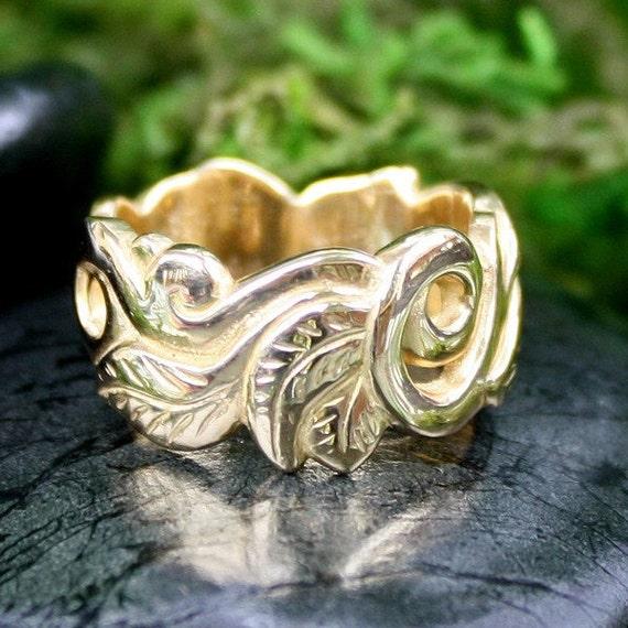 Leaf Engagement Ring, 18k Gold, Wedding Ring, Woodland, Handmade, Art Nouveau Style, Alternative Wedding