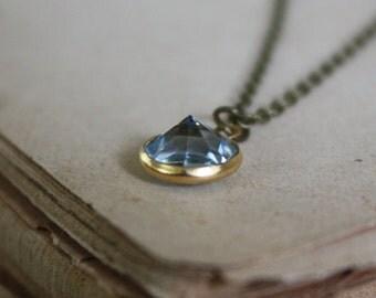 Blue Crystal Necklace - Aquamarine - Tiny Crystal Necklace - Crystal Drop Necklace - Minimal Crystal Necklace