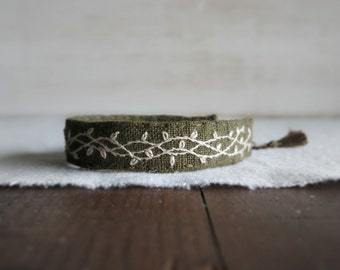 Moss Green Cuff Bracelet - Cream Embroidered Vine on Moss Green Linen Bracelet