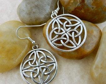 Silver Irish Celtic Knot Earrings with 4 Trinity Knots