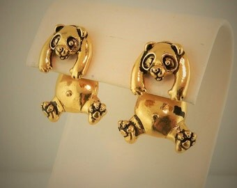 Vintage Gold Plated pewter Panda EARlusion 3D earrings