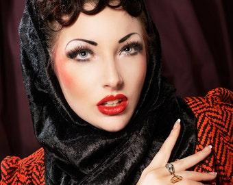 Black 40's Hollywood glamour style velvet soft snood hood scarf - gift idea