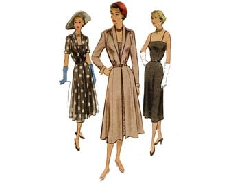 1950s Coat And Skirt Pattern Straight Coat By