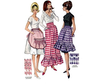 1960's Smocked Gingham Aprons and Skirt Pattern Half Apron Maxi Skirt Ruffles Pockets Tassels Colorful Kitchen McCalls 7384 Vintage Sewing