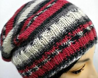 Hat Beanie Unisex Red and Black Fair Isle Stripe