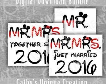 2016 Bundle Just Married Together Since Mr and Mrs Mickey Minnie Mouse Disneyland Disney World Vacation Printable Letter Digital Download