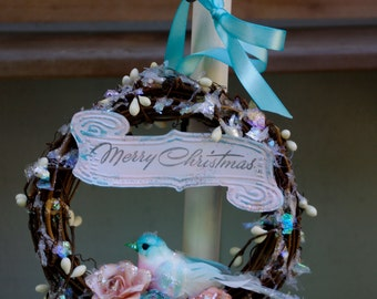 Christmas Bird Wreath Ornament