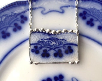 Broken china jewelry necklace antique English flow blue clover shamrock china