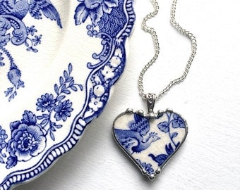 Broken china jewelry heart pendant necklace recycled china antique blue floral bird reclaimed china