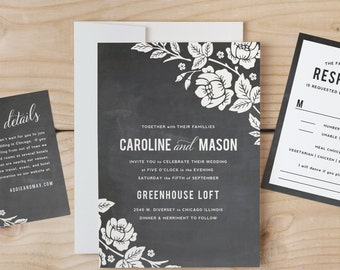 Instant Download Printable Wedding Invitation Template | Chalkboard Lace Floral | Word or Pages | MAC or PC | Editable Artwork Colors