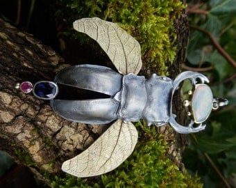 Stag beetle with gemstones