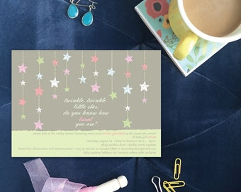 Twinkle, Twinkle Little Star Baby Shower Invitation | Mint Green Gender Reveal Invitations | Neutral Modern Baby Shower Invites for Twins