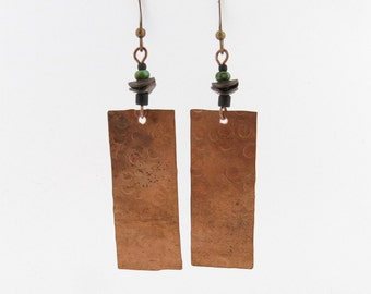 Copper Dangle EARRINGS Handmade in USA Hammered Copper Rectangle Czech Matte Black & Turquoise Glass  BOHO Rustic Tribal Jewelry