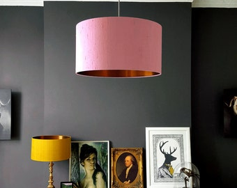Blush Pink Indian Silk Dupion Lampshade With Gold or Brushed Copper Lining
