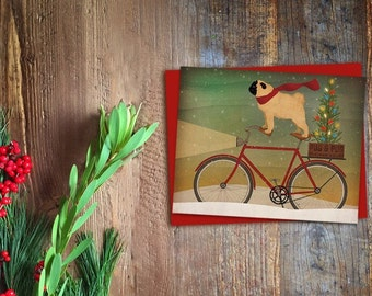 GREETING CARDS Bicycling Christmas Pug Bicycle Christmas Tree  4.5 x 5.5 + red envelope by Native Vermont Studio