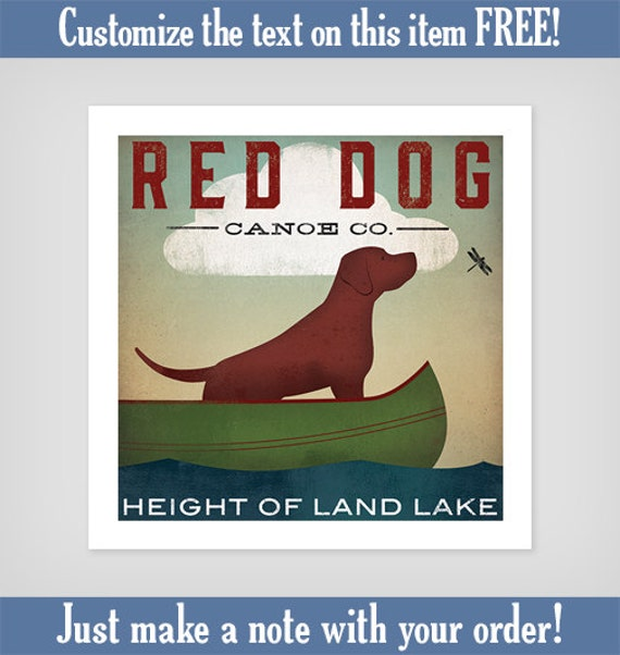 Fox Red Lab English Lab CANOE RIDE Graphic Art Illustration  Print Labrador Retriever