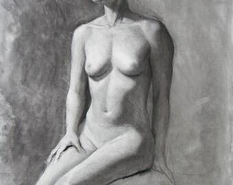 Charcoal Figure - original drawing (FD 88)