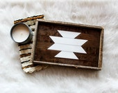 Reclaimed wood tray; serving tray, decorative tray, wooden tray, aztec decor, ottoman tray, catchall tray, nordic decor, boho decor, tribal