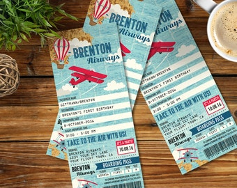 Airplane, Hot Air Balloon, Aviator Birthday TICKET Invitation - Map Airplane Party Invite, 1st Birthday - DIY Instant Download PDF Printable