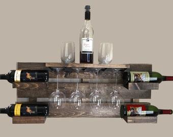 rustic wine rack, farmhouse decor,  wine rack, reclaimed wood, wine display, wine glass holder, bottle holder, hanging wine rack, wall mount