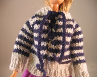 Hand Knit Doll Clothes Gray Navy Striped Sweater fits 11 1/2 inch fashion doll such as Barbie