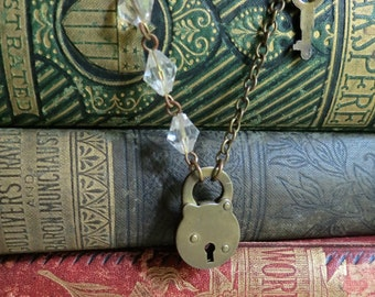 Unlock My Heart...Vintage Mini Lock and Key Necklace