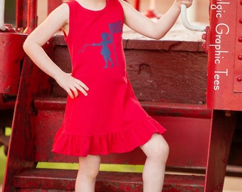 Patriotic Tank Dress by Nostalgic Graphic Tees in Red with Navy