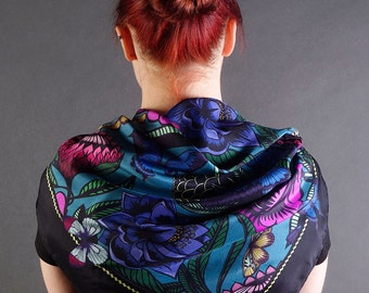 SPECIAL OFFER PRICE - Silk Scarf / Blooms and Butterflies Silk Scarf / Floral Silk Scarf / Flowers Silk Scarf