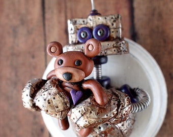 Robot Loves Teddy Bear MINI WALL ART 3D Robot Sculpture - Clay, Wood, Wire