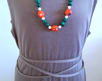 SALE...STUNNING GlamRox Museum Quality Genuine Malachite and Coral Necklace from Israel. Perfect Jewelry Gift. Gift for her. ETSY Gift.