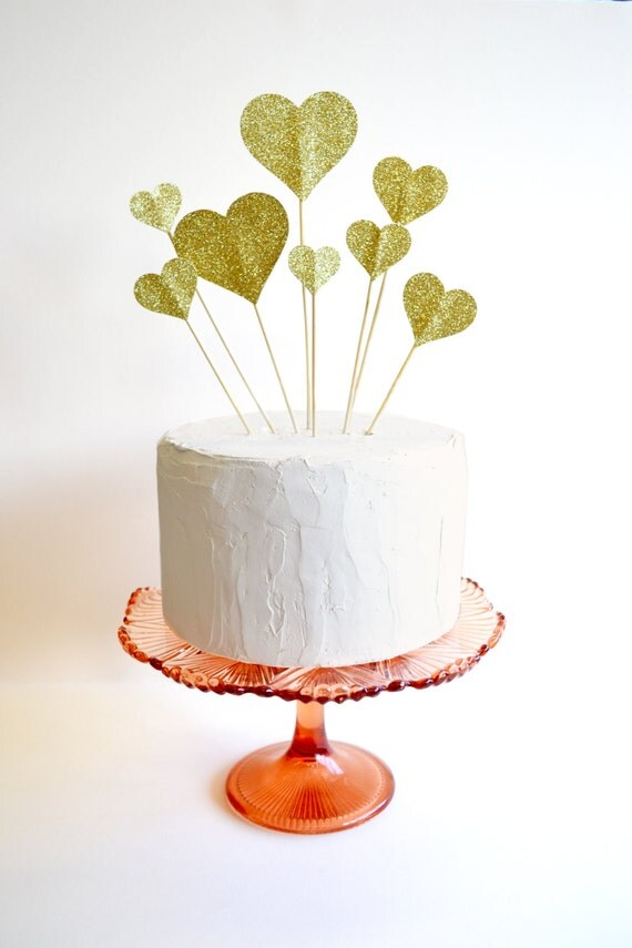 Glitter hearts cake topper or wedding decoration