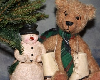 Winter Jointed Mohair Teddy, Snowman & Sled